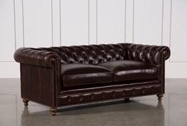Mansfield 86 Inch Cocoa Leather Sofa