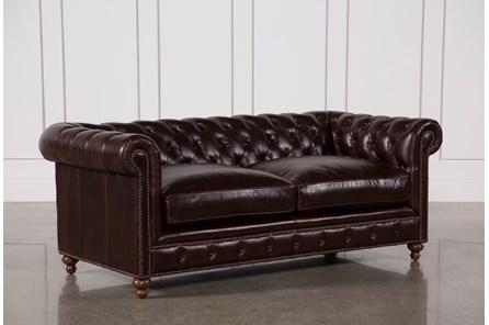 Mansfield 86 Inch Cocoa Leather Sofa - Main