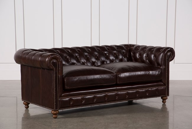 Mansfield 86 Inch Cocoa Leather Sofa - 360