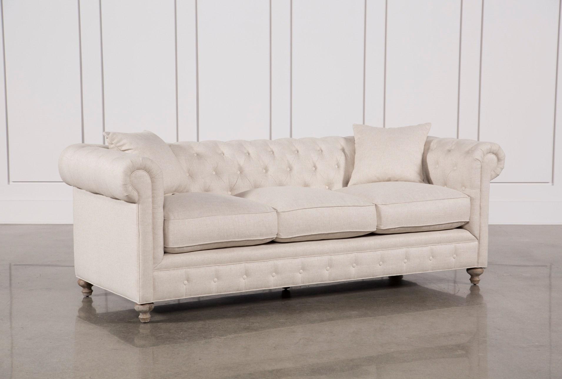 mansfield 96 inch beige linen sofa living spaces. Black Bedroom Furniture Sets. Home Design Ideas