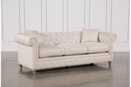 Mansfield 96 Inch Beige Linen Sofa - Main