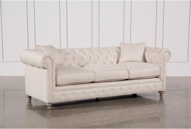 Mansfield 96 Inch Beige Linen Sofa Living Spaces