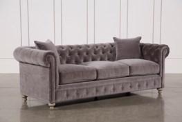 Mansfield 96 Inch Graphite Velvet Sofa
