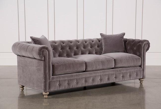 Mansfield 96 Inch Graphite Velvet Sofa - 360