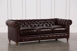 Mansfield 96 Inch Cocoa Leather Sofa