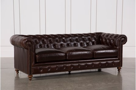Mansfield 96 Inch Cocoa Leather Sofa - Main