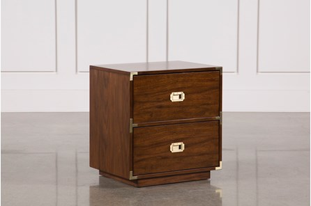 Adams Walnut 2-Drawer Nightstand - Main
