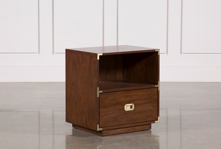 Adams Walnut 1-Drawer Nightstand