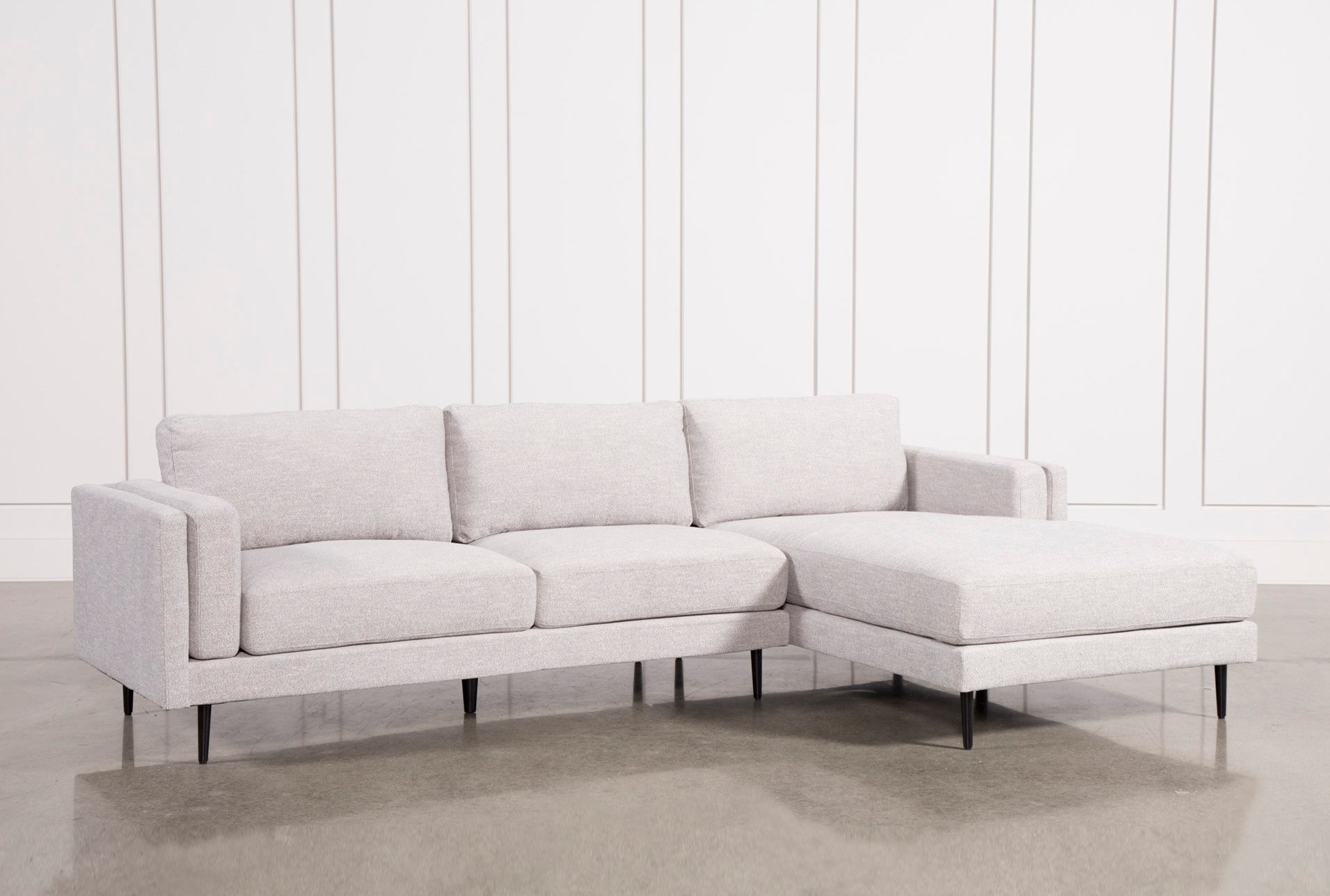 Aquarius Light Grey 2 Piece Sectional W Raf Chaise Living Spaces