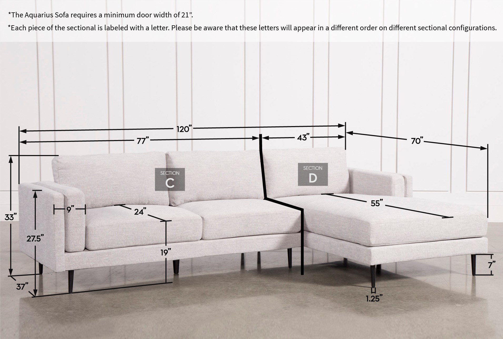 Aquarius Light Grey 2 Piece Sectional Wraf Chaise Living Spaces