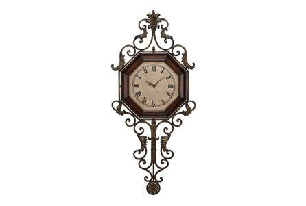 39 Inch Scroll Wood & Metal Wall Clock