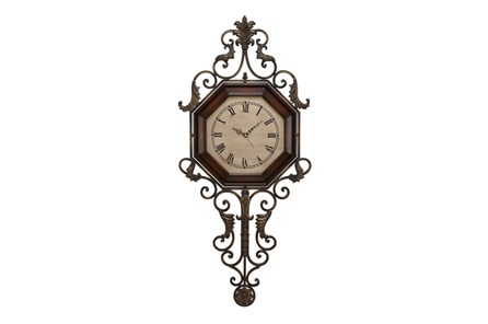 39 Inch Scroll Wood & Metal Wall Clock - Main