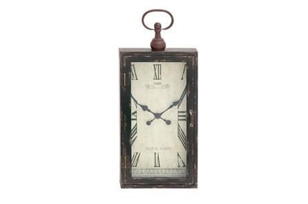 28 Inch Rustic Wood Metal Wall Clock - Main