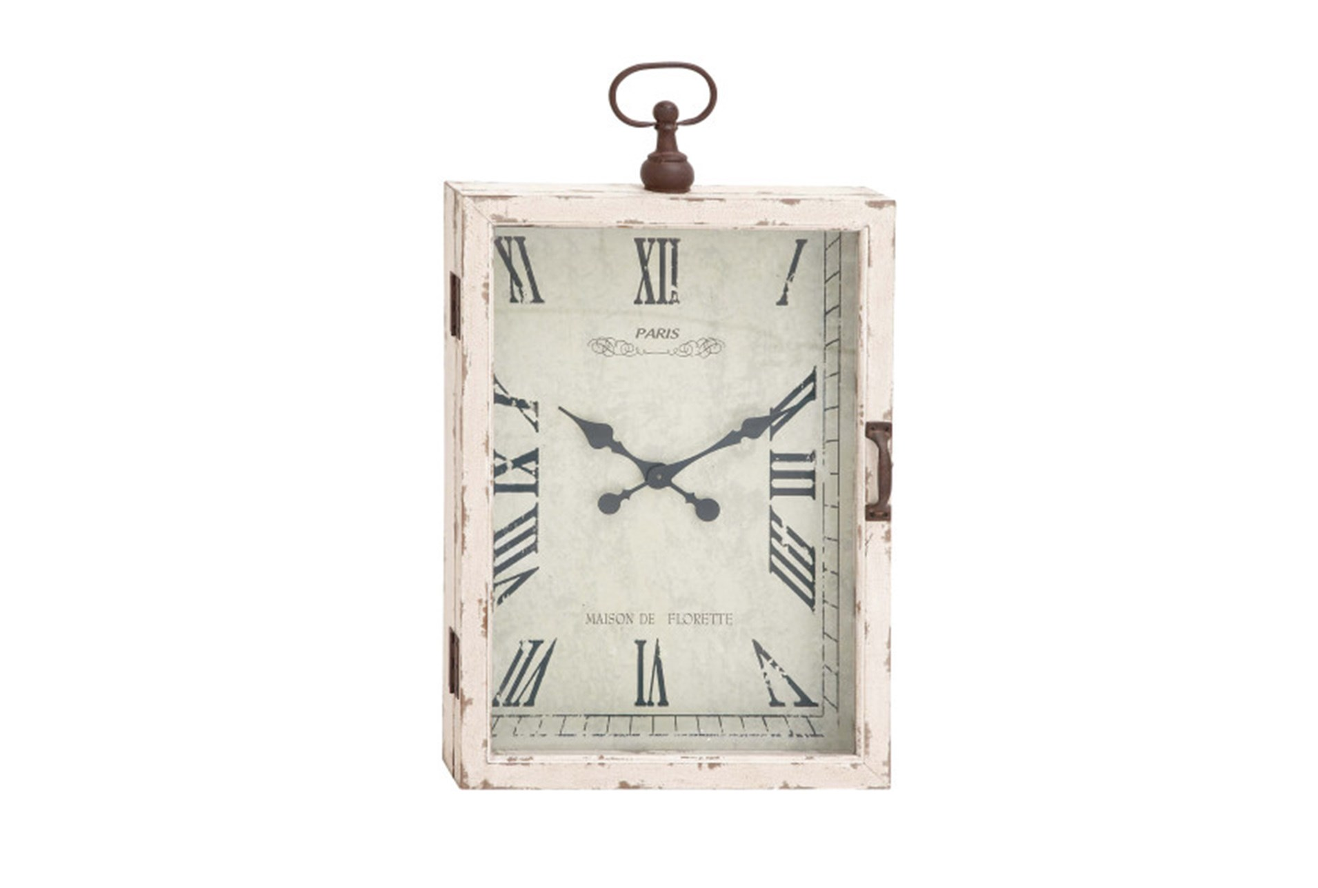34 Inch White Rustic Wood Metal Wall Clock