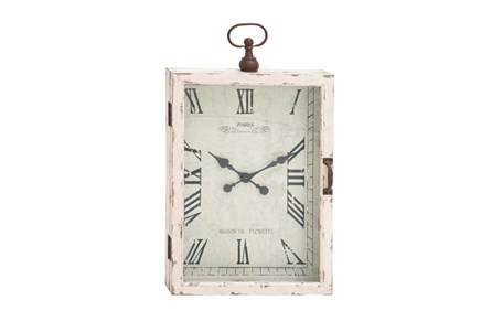 34 Inch White Rustic Wood Metal Wall Clock