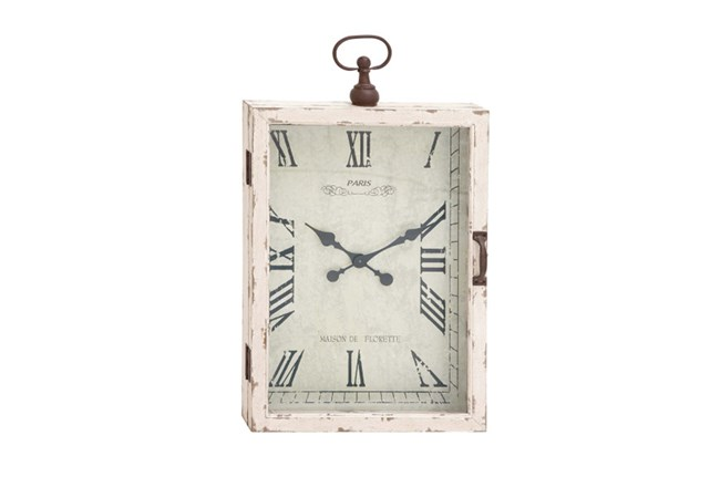 34 Inch White Rustic Wood Metal Wall Clock - 360