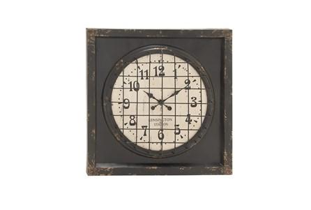 39 Inch Rustic Metal Grid Wall Clock