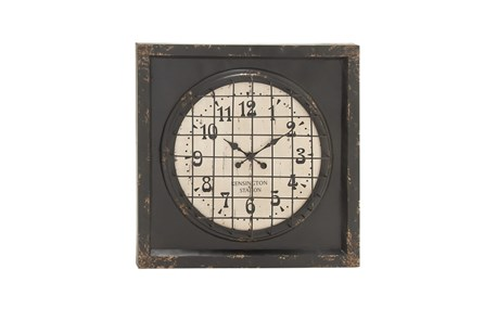 39 Inch Rustic Metal Grid Wall Clock - Main