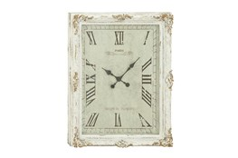 36 Inch White Shabby Wood Wall Clock