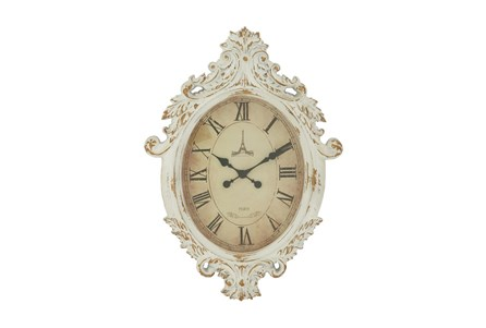 33 Inch White Shabby Wood Wall Clock