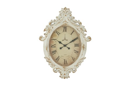 33 Inch White Shabby Wood Wall Clock - Main