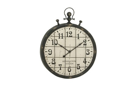 50 Inch Rustic Metal Grid Wall Clock - Main