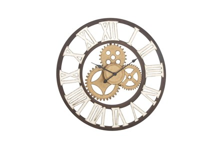 30 Inch Mixed Metal Wall Clock - Main