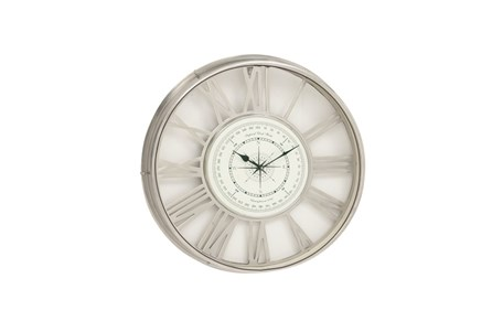 21 Inch Nickel Compass Wall Clock