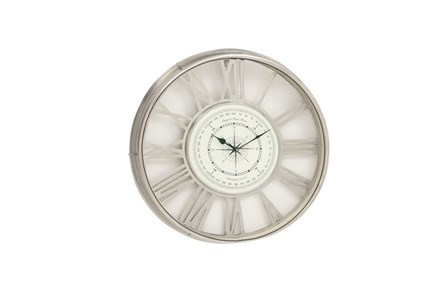 21 Inch Nickel Compass Wall Clock - Main