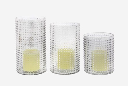 3 Piece Set Textured Glass Candleholder