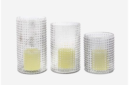 3 Piece Set Textured Glass Candleholder - Main