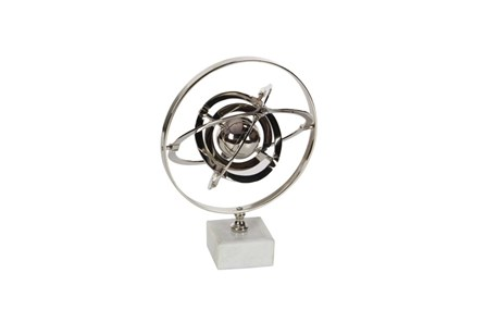 15 Inch Silver Ceramic Armilary Sphere - Main