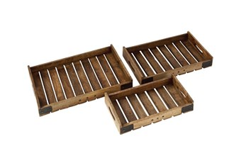 3 Piece Set Wood Metal Crate Tray