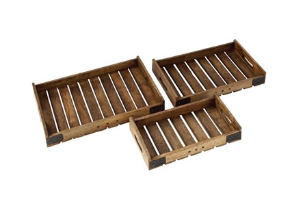 3 Piece Set Wood Metal Crate Tray - Main