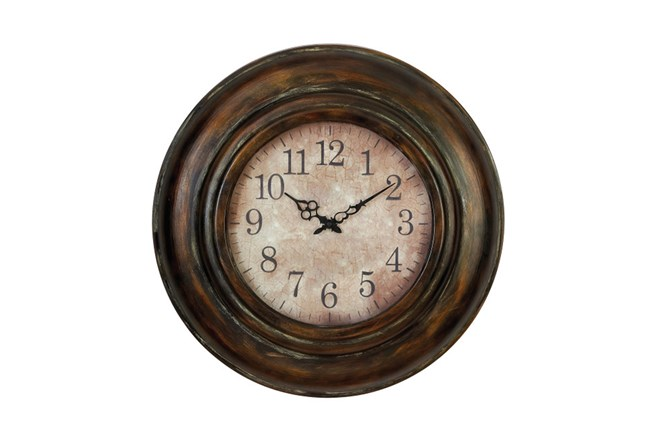 24 Inch Bronze Round Wall Clock Living Spaces