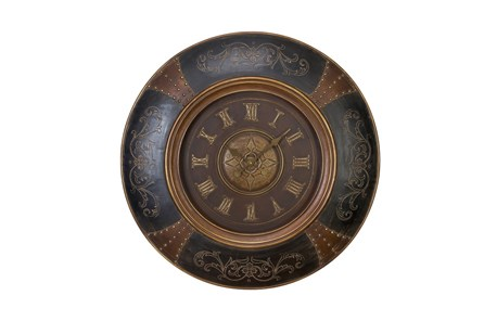 36 Inch Wood Leather Scroll Wall Clock - Main