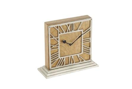 9 Inch Wood Silver Clock