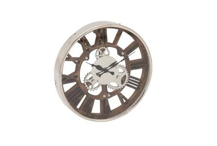 14 Inch Steel Wood Silver Wall Clock