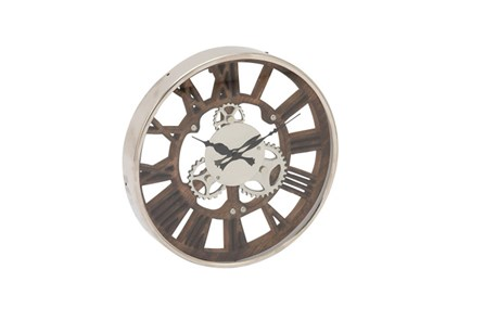 14 Inch Steel Wood Silver Wall Clock