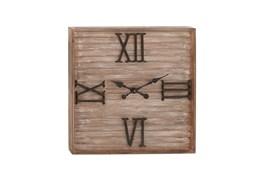 28 Inch Washed Wood Metal Wall Clock
