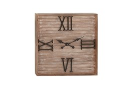 28 Inch Washed Wood Metal Wall Clock