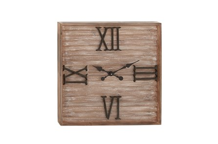 28 Inch Washed Wood Metal Wall Clock - Main