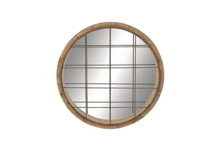 48 Inch Wood Metal Grid Wall Mirror