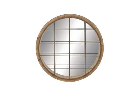 48 Inch Wood Metal Grid Wall Mirror