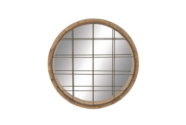 48 Inch Wood Metal Grid Wall Mirror - 360