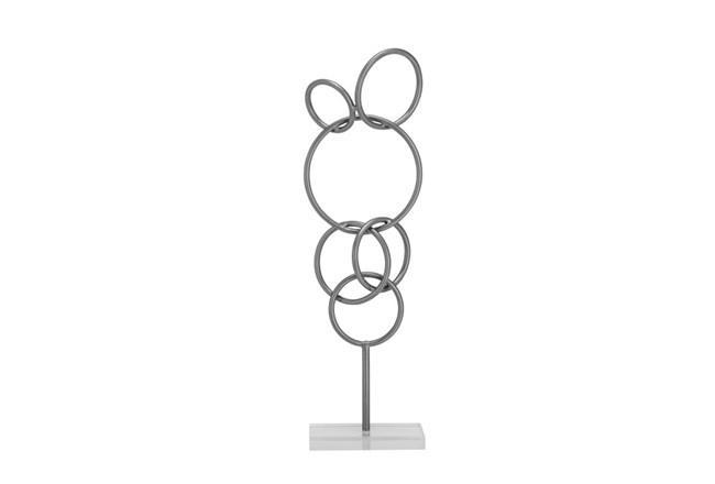 21 Inch Metal Sculpture On Stand - 360
