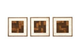 3 Piece Set Wood Mixed Wall Decor