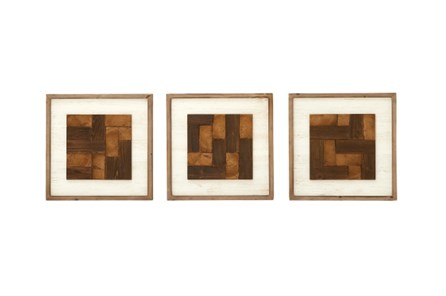 3 Piece Set Wood Mixed Wall Decor - Main
