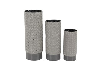 3 Piece Set Grey Texture Vases