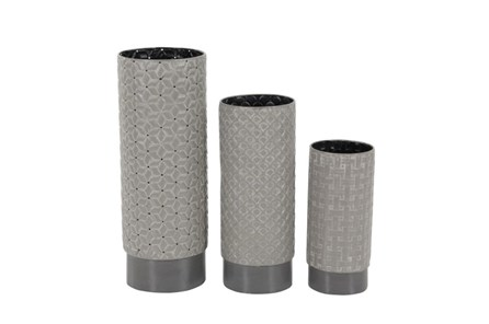 3 Piece Set Grey Texture Vases - Main